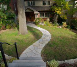 Sunken Garden - Random Flagstone Pathway - Backyard Lanscape design
